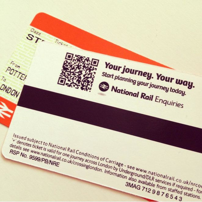 Bree in use in the National Rail tickets, Uk