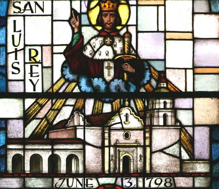 Stained glass detail of San Luis Rey de Francia Mission. CA.