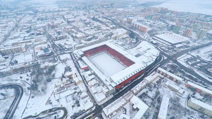 Winter drone / aerial photo of brand new football / soccer stadium in Trnava, Slovakia - #stadion #stadium #arena #football #soccer #aerial #drone #dji #phantom #gopro #night #nightshot #cityarenatrnava #trnava #slovakia