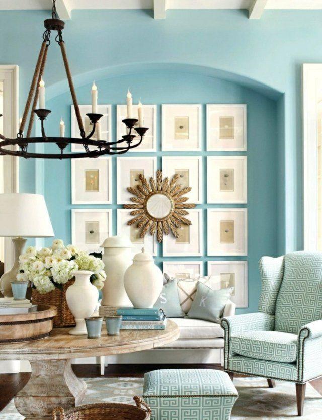 klassische Einrichtung blaue Wandfarbe Ideen Nuance