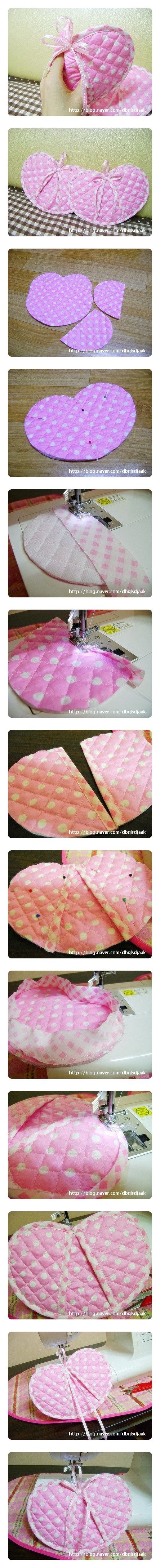 Cute Heart-shaped Pot Holders. Every girl should have a nice set of pot holders. Why not make your own?