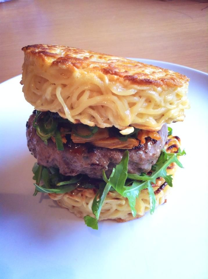 The Ramen Burger - Cook a pack of ramen, mix in an egg as a binder, form the shape in a ramekin/mould/tin can, and cook! Holds its shape surprisingly well even when you get stuck into it. Topped with hoisin, rocket, sesame oil fried burger, gochujuang cabbage and some chopped spring onions. That one was fun to make, if not a bit messy to eat!