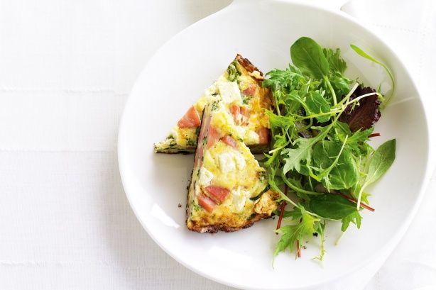 Ham, leek and zucchini frittata recipe @recipesfornet