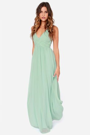 LULUS Exclusive Strike a Minerva Mint Green Maxi Dress at Lulus.com!