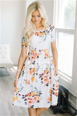 Cream Gold Pink Floral Pocket Modest Dress Bridesmaids Dress, Church Dresses, dresses for church, modest bridesmaids dresses, trendy modest dresses, modest womens clothing, affordable boutique dresses, cute modest dresses, mikarose, trendy modest boutique