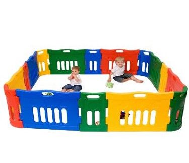 LARGE PLAYPEN.   This children's playpen is the ideal way to create a safe and controlled environment for younger children to play indoors or outside. Comprises playpen plus extension pack to create an area measuring 58cm high by 228cm square when set-up.  Bright and colourful, extendable and portable, tough and durable, indoor and outdoor use. We really do mean versatile!  Rounded edges and corners for child safe use.  Suitable for children up to the age of 5.