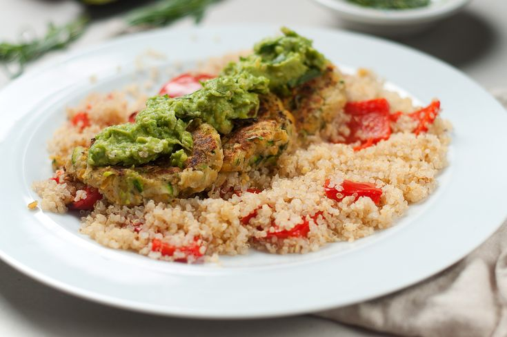 Serves: 2 | Cook Time: 30 mins | Calories: 532 | Type: Gluten-Free Ingredients:         80g quinoa   200g courgette   1 red pepper   1 avocado   1 lime   2 sprigs of fresh tarragon   1 avocado   4 tbsp chickpea flour      Already in your kitchen      Sea salt & black pepper   Coconut oil / olive oil   At Mindful Chef we source,