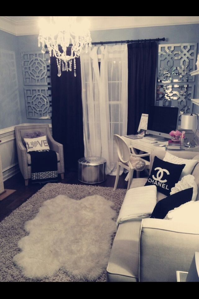 Nice office room/ bedroom idea. White interior decor with black accent pillows and curtains and light grey/blue walls