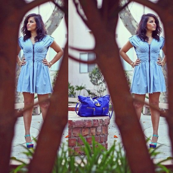 H&M Denim Dress, Aldo Blue Large Bag, Lola Shoetique Colorful Heels