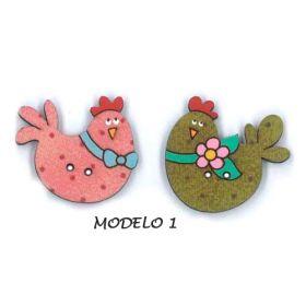 Botones decorativos de madera en forma de gallina.  Medida:     Modelo 1 :   3  x  2.5  cm.   2 Unidades.                    Modelo 2 :   5  x    3   cm.  2 Unidades.                    Modelo 3 :   3  x    3   cm.  2 Unidades.