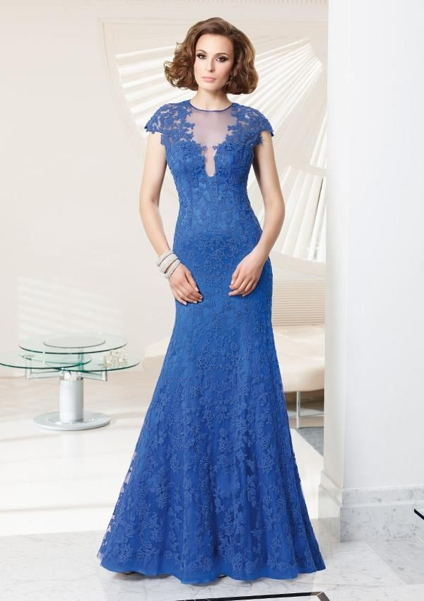 Style EZYVN Lace over Satin  Dress  Colors Available: Blue. Sizes Available: 2-26* *Please refer to the VM size chart.