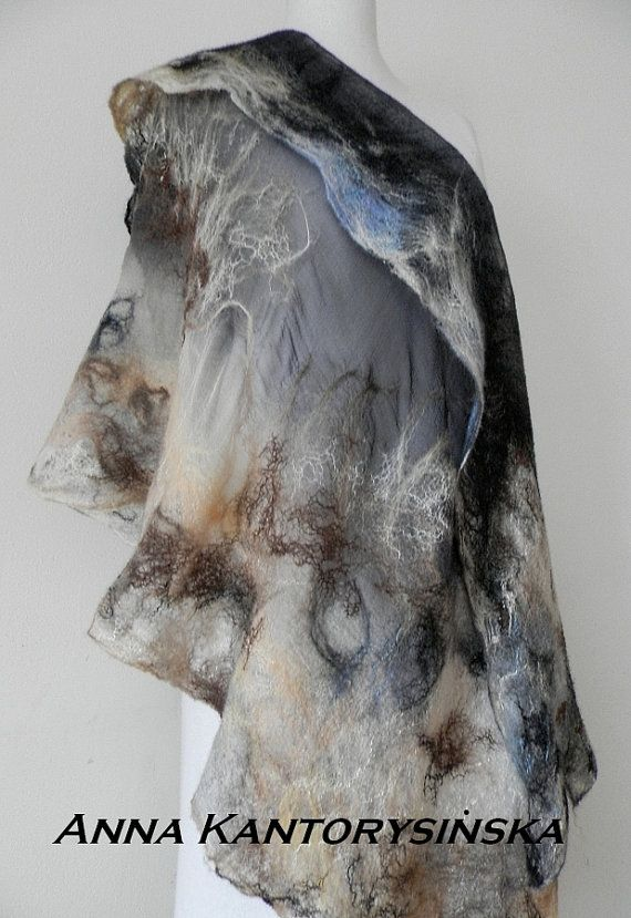 nuno felted silk scarf shawl DERSU UZALAhandmade by kantorysinska, $154.00