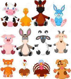 Colección De Dibujos Animados De Animales De Granja Ilustraciones Vectoriales, Clip Art Vectorizado Libre De Derechos. Image 27649515.