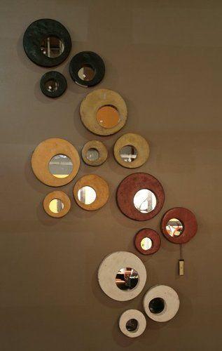 Paredes con Personalidad. Diseño Argentino Hecho a Mano : Espejo Redondo Cemento  Grande diam 25cm  Mediano diam 19cm  Chico diam 15cm  Colores: Chocolate-piedra-blanco-lacre-zapallo-verde aguamarina | concretoarttigre