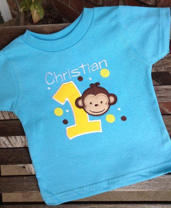 Mod Monkey Birthday Shirt 1st 2nd 3rd 4th 5th Birthday Tee Tshirt T Shirt Christian Design Bright Yellow Brown White by mycamillescreations on Etsy https://www.etsy.com/listing/155063621/mod-monkey-birthday-shirt-1st-2nd-3rd