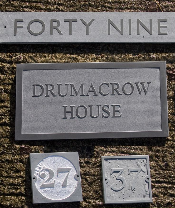 A selection of raised and unpainted slate house signs   www.sign-maker.net/stone/slate-standard.htm