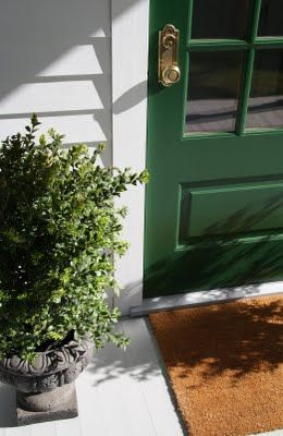 LOVE all the COLORS - with this color coir mat - whites, greens, browns, black, brass door handle - LOVE************************************