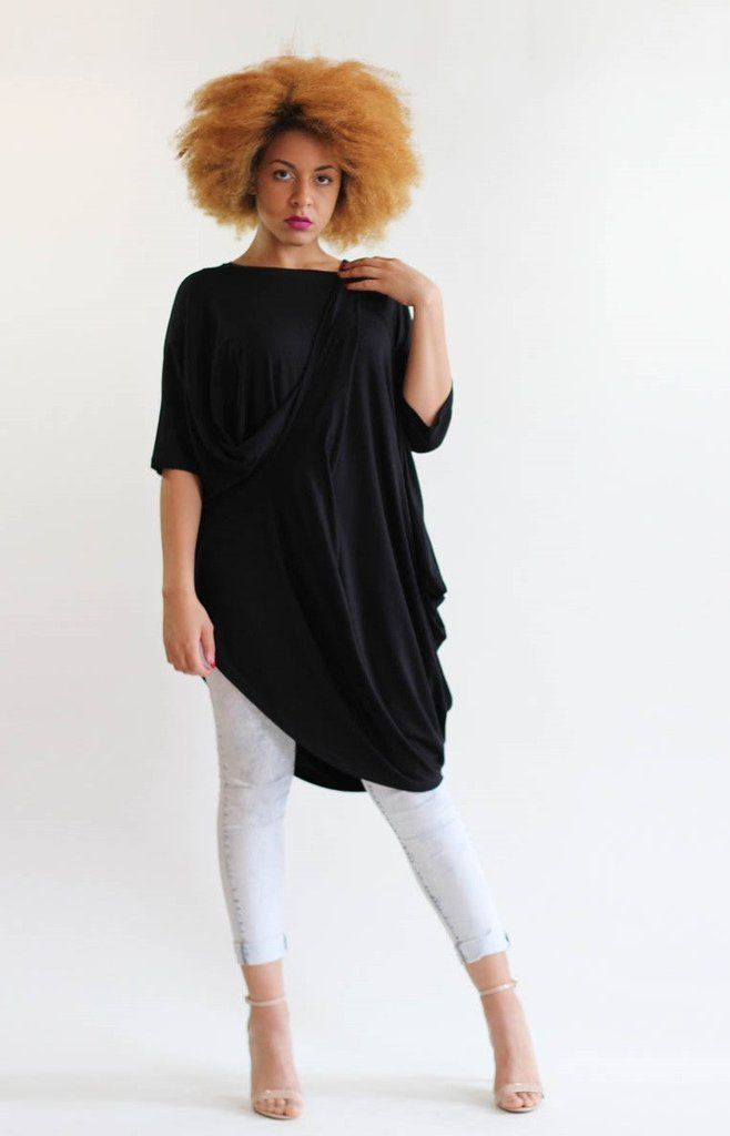 Roxie Oversized Drape Asymmetric Tunic Top