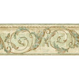 "Sunworthy�8-1/4"" Traditional Scroll Prepasted Wallpaper Border"
