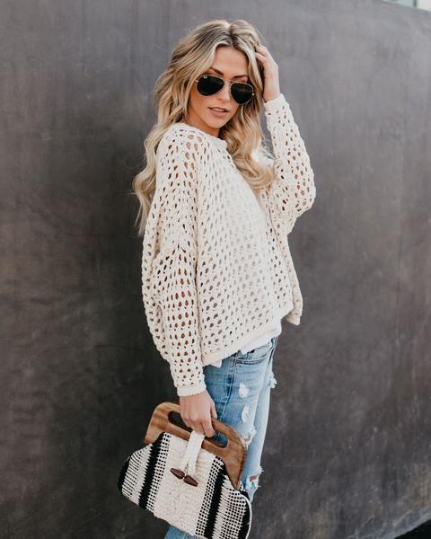 e2a088b49370 Great Catch Cotton Crochet Sweater in 2019