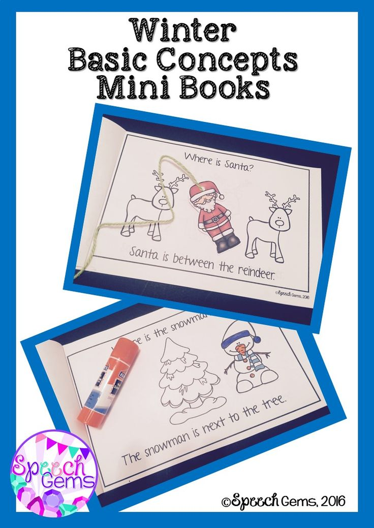 Create 3 different winter themed mini books that target the concepts next to, beside, over, under, between, in front, left and right. There is a Christmas Santa mini book, Winter snowman mini book and a Groundhog day mini book.