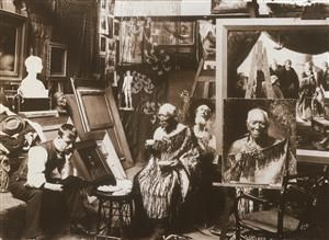 C. F. Goldie in his studio with Patara te Tuhi - Collections Online - Museum of New Zealand Te Papa Tongarewa