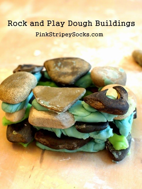 Build with Rocks and Play Dough (great for 3 Little Pigs Story)