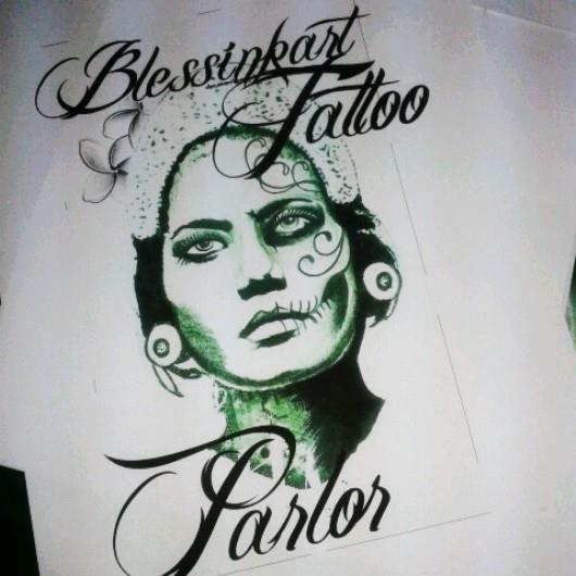 logo tshirt blessinkart tattoo parlor 2015