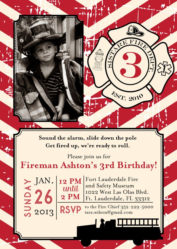Best 25 Fireman party ideas – Firefighter Party Invitations