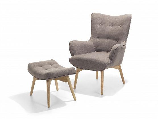 Sessel Hellgrau - Ohrensessel - Relaxsessel - Stuhl + Hocker - Polstersessel…