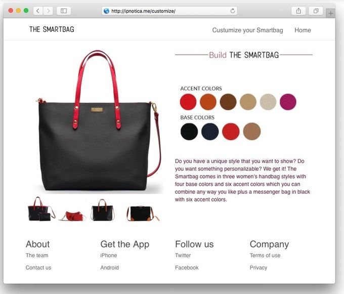 Do you have a unique style that you want to show? Do you want something personalizable? We get it! The Smartbag comes in three women's handbag styles with four base colors and six accent colors which you can combine any way you like plus a messenger bag in black with six accent colors.