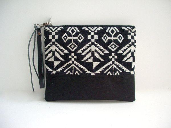 Black Aztec Clutch Bag, Wristlet