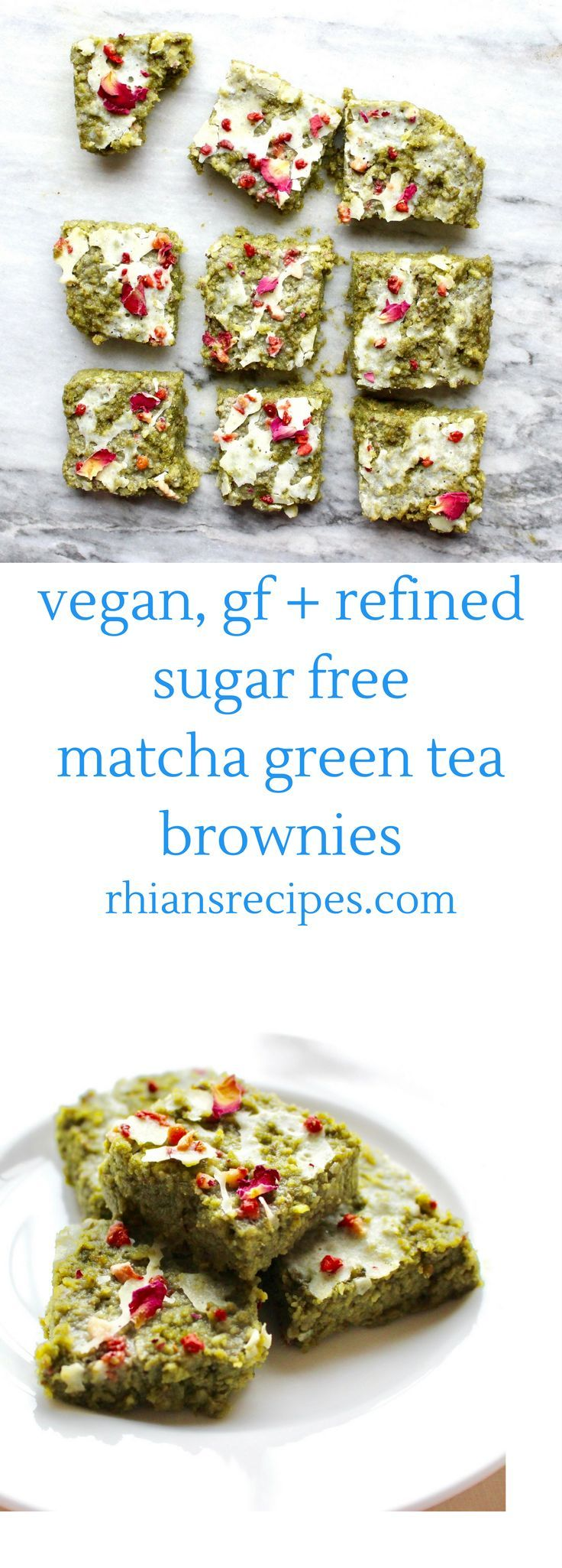 These Matcha Green Tea Brownies are vegan, gluten-free and refined sugar free. They also come with a lovely white chocolate icing!