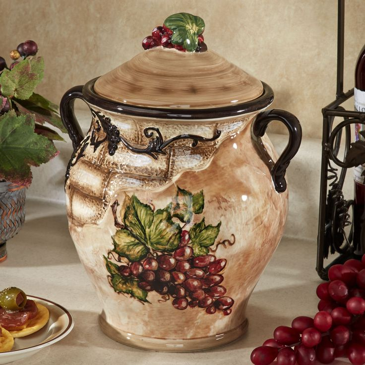 Tuscan View Grape Design Biscotti Jar W 2019 Kuchnia