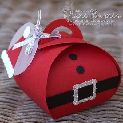 Christmas Santa tummy box, hat tag & instructions using Stampin Up Curvy keepsake box die & punches. By Di Barnes #colourmehappy
