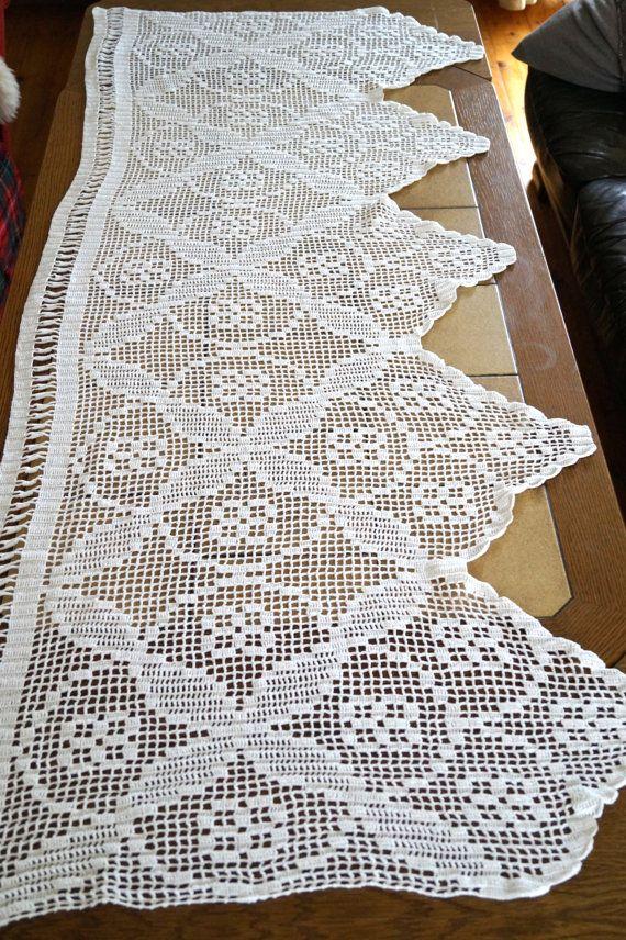 2 X Swedish window valances White crochet valances by vintagdesign