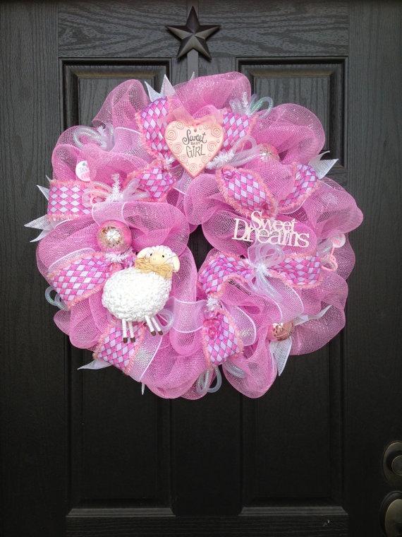 SWEET BABY GIRL Mesh Wreath by GlitzyWreaths on Etsy, $75.00