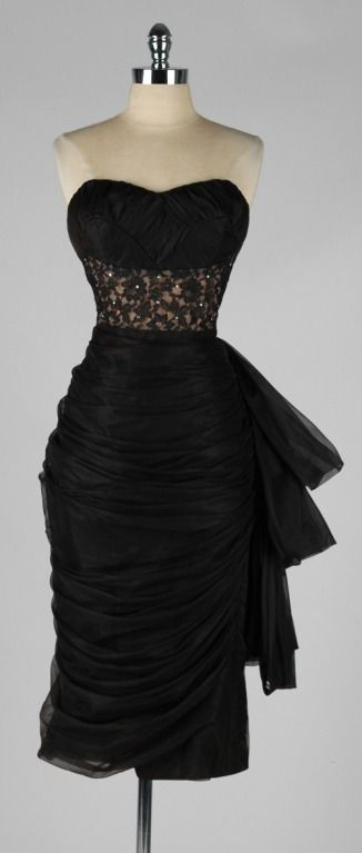 Vintage 1950's Lilli Diamond Black Chiffon Cocktail Dress