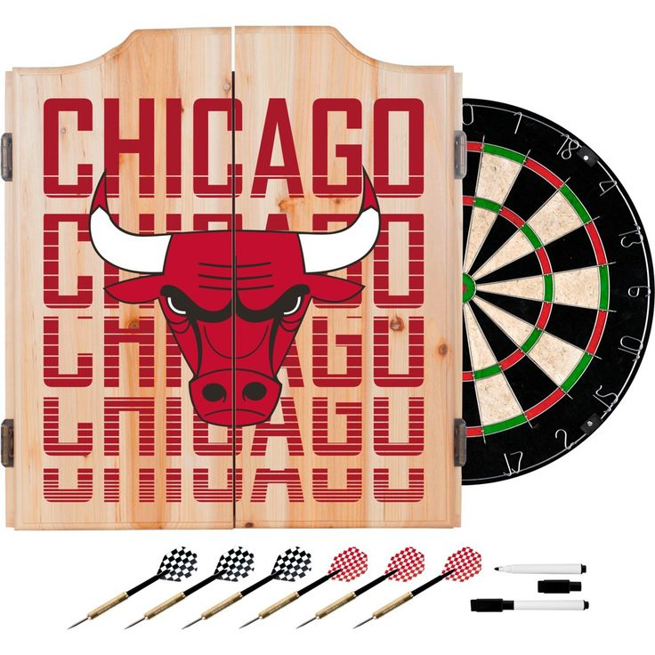 NBA Chicago Bulls Dart Cabinet Set with Darts and Bristle Dart Board