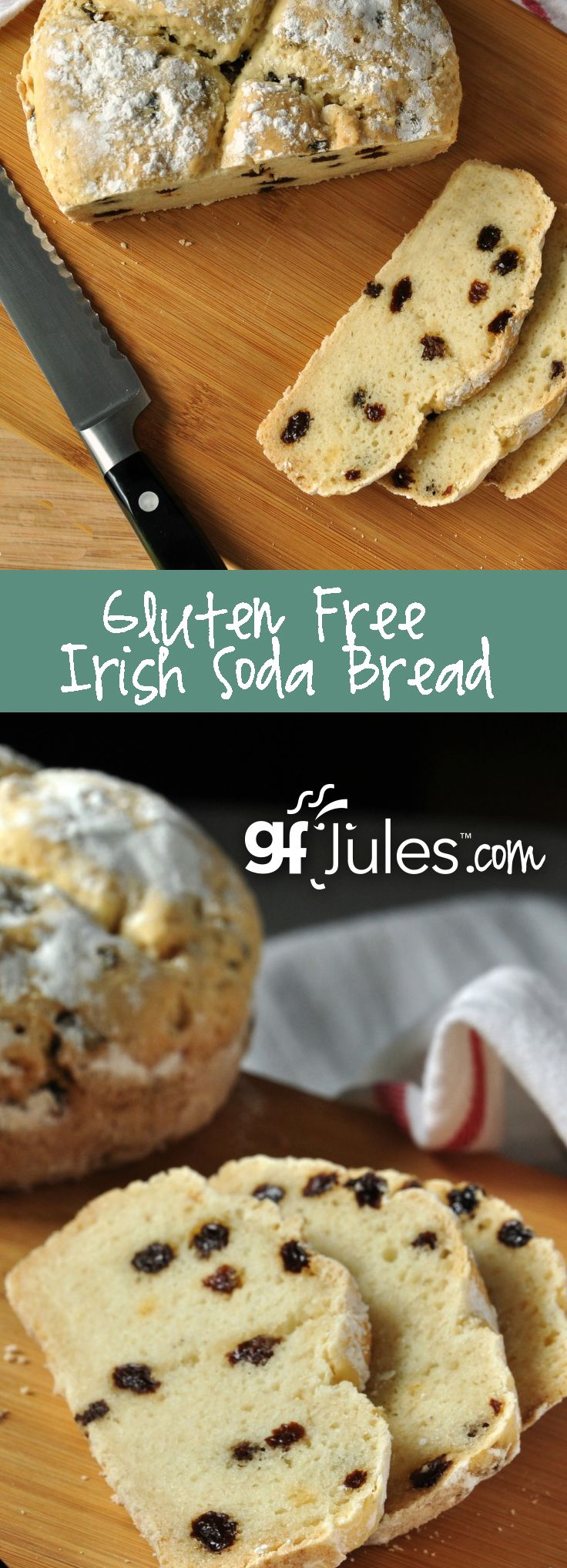 This Gluten Free Irish Soda Bread recipe makes bread you'd be proud to serve any time of year! Soft, moist and full of flavor. Yeast-free so it bakes up and is ready to savor within the hour! ~gfJules.com