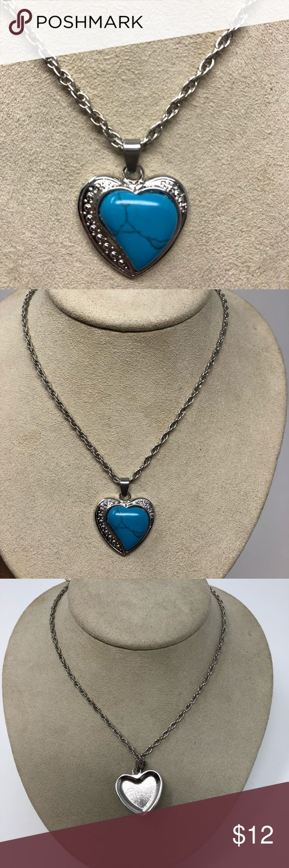 TURQUOISE HEART NECKLACE Very pretty silver rope necklace with a lobster clasp closure. Turquoise heart with a silver outline. That really makes this POP! Add this to any oversized sweater, business suit or lbd. A small detail can speak volumes. Tucker Jewelry Necklaces