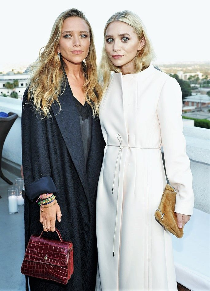 Mary-Kate and Ashley at InStyle's party for Elizabeth and James at the Chateau Marmont in LA, July 26 2016 (via @ chrisellelim) Both wearing Elizabeth and James coats