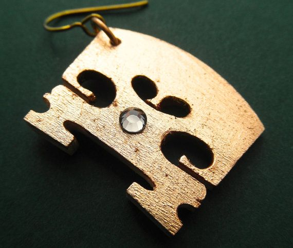 Small violin bridge gold gilt earrings made with real bridges