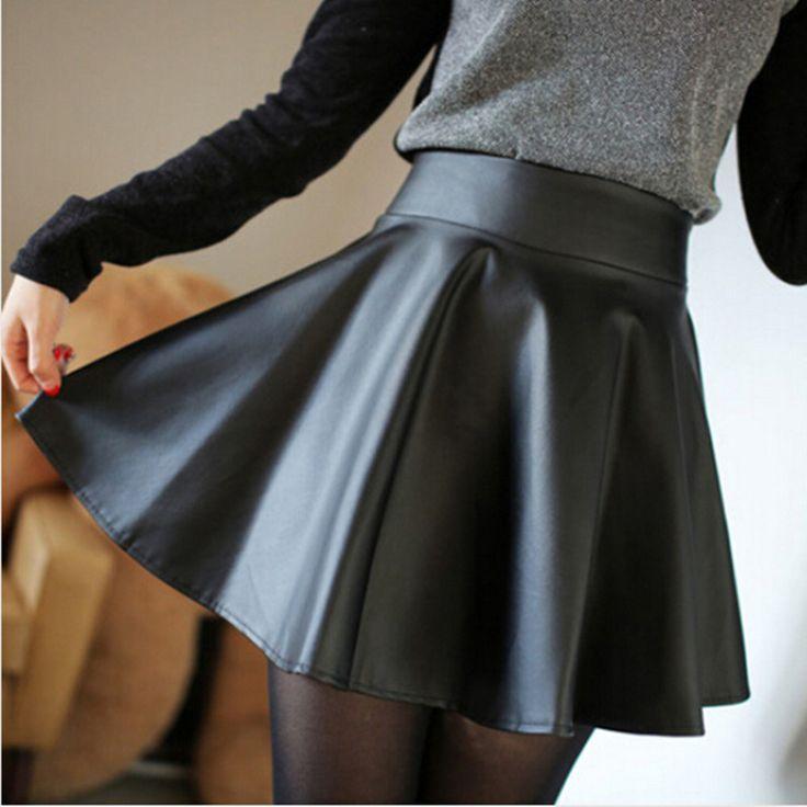 Nieuwe herfst 2015 hoge-taille zwarte kunstleren rok