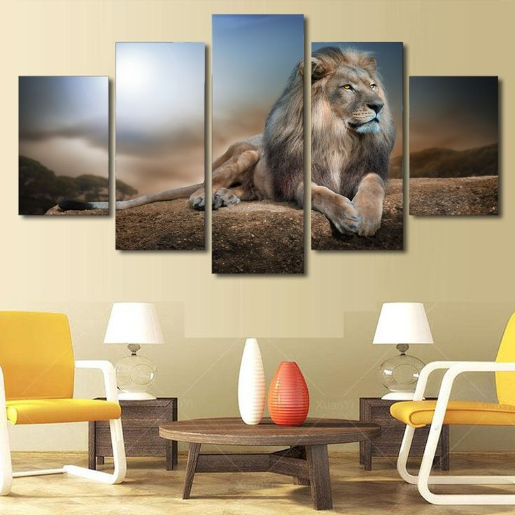 5 Pieces/Set Lion Animals Poster Pictures For Modern Home Decoration Wall Art HD Print On Canvas Painting Of Living Room Framed