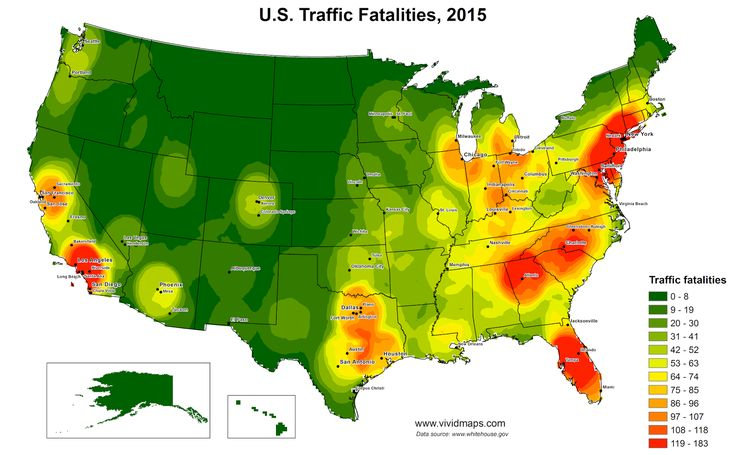 United States Traffic Fatalites Heat Map (2015)