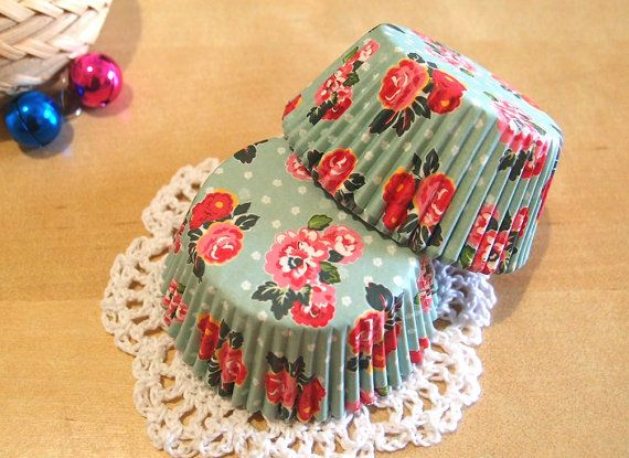 Mint Green Floral Cupcake Liners 50 by ChicChicFindings on Etsy, $3.25