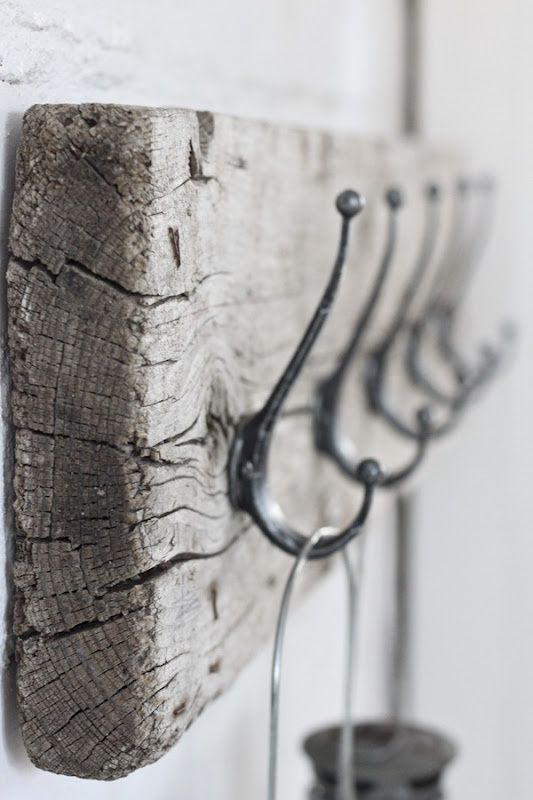 diy scrap wood coat rack or key holder? -   love the distressed, old wood and simple look  I have the hooks!!. Just need to   find the perfect board!