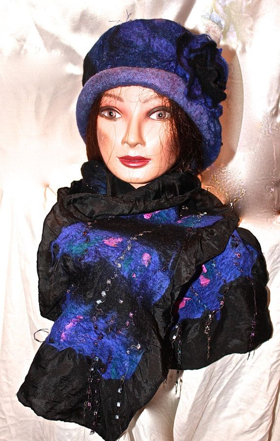 Felted Cloche Hat.  Versatile Reversible Blue by MindfulPresents