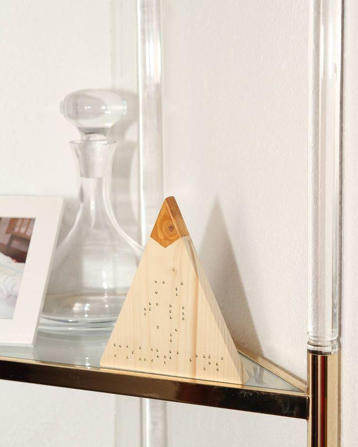 "On instagram by bluedaina #braille #doitbraille (o) http://ift.tt/2dhJ0Fe nueva línea de montañas con los mensajes en braille! (""As tall as mountains"" para los curiosos :) . .  #mountain #decoration #white #minimal #deco #minimal #triangle #wood #fusta #madera #decoracion #geometric #quote #frase #transparent #barcelona #igersbcn #gift #regalo #handmade #hechoamano #fetama #montaña #muntanya #gogreen #nature #goodmorning #decoracionvintage #vintage"